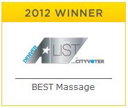 Denver A List Winner for Best Massage in Denver 2012