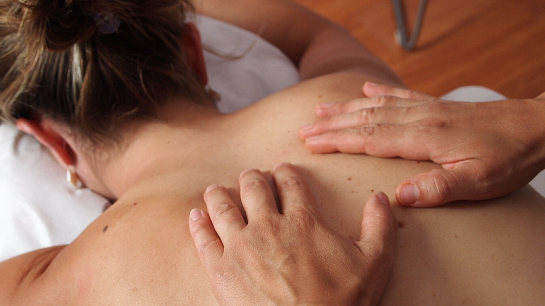 Hands on back for massage 101