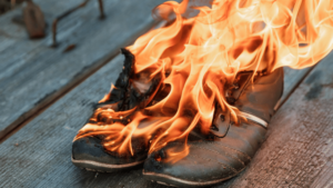 Shoes on fire