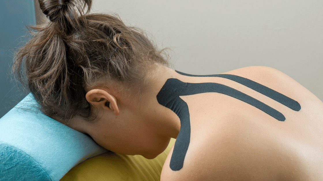 Girl with Kinesio Taping on her Neck