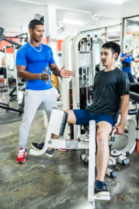 personal trainer starting slowly with client